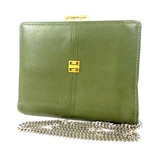 GIVENCHY Vintage Chain handle green Leather clutch